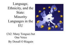 Language, Ethnicity, and the State: Minority Languages …