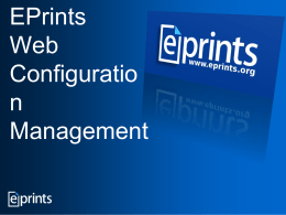 Configuring EPrints