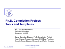 Ph.D. Completion Project: Tools and Templates