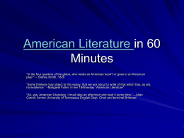 American Literature in 60 Minutes