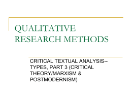 CRITCAL THEORY & CULTURAL STUDIES