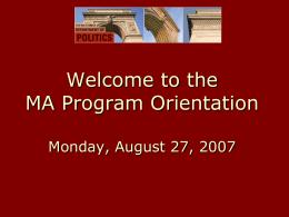 2006 MA Orientation
