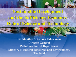 Sustainable Development and the Sufficiency Economy: …