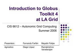 Globus Toolkit 4 Examples for LAGrid @ FIU