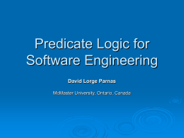 Predicate Logic for Software Engineering