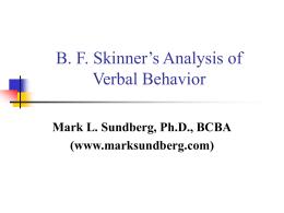 B. F. Skinner's Analysis of Verbal Behavior