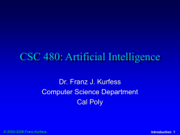 CSC 480: Artificial Intelligence