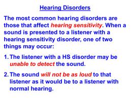 Hearing disorders