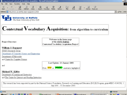 Contextual Vocabulary Acquisition: From Algorithm to