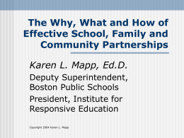Effective School, Family and Community Partnerships