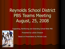 Reynolds School District PBS Teams Meeting August, …