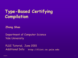 Type-Based Certifying Compilation