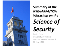 Summary of the NSF/IARPA/NSA Workshop on the …