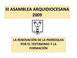 III ASAMBLEA ARQUIDIOCESANA 2009