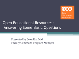 Open Educational Resources: Finding Them and Using Them