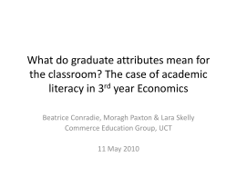 Do 3rd year students in Economics achieve graduate literacy?