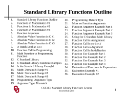 CS1313 Standard Library Functions Lesson