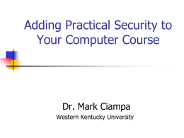 Adding Practical Security - Jacksonville State University