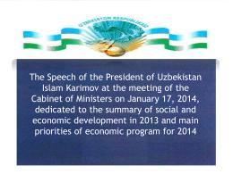 Доклад Президента Республики Узбекистан И.Каримова …