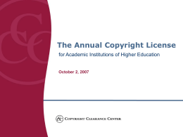 Academic Repertory License a new model for copyright …