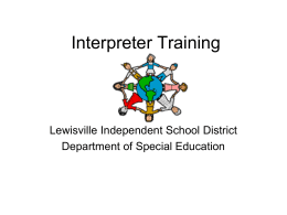 Interpreter Training - Lewisville Independent School District