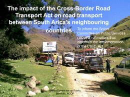 The impact of the Cross-Border Road Transport Act on …