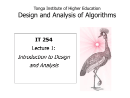 Tonga Institute of Higher Education Design and Analysis …