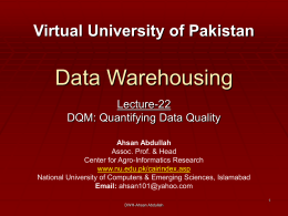Data Warehousing - Virtual University of Pakistan