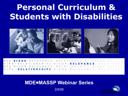 Personal Curriculum & Students with Disabilities