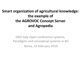 Smart organization of agricultural knowledge: the …