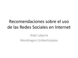 Recomendaciones sobre el uso de las Redes Sociales en …