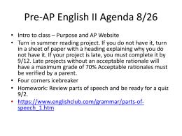 Pre-AP English II Agenda 8/26
