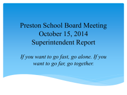 Preston School Board Meeting November 20, 2013