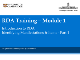 RDA Module 1 - CambridgeRDA