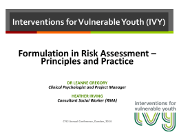 Interventions for Vulnerable Youth (IVY)
