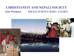 CHRISTIANS IN THE HIMALAYAS John Whelpton CUHK …