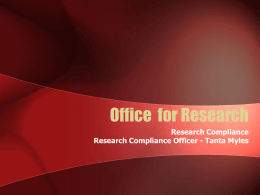 Office for Research (Research Compliance)