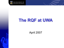 Research Committee - University of Western Australia