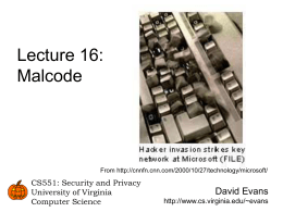 CS551 Lecture - University of Virginia