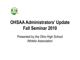 OHSAA Administrators' Update Fall Seminar 2010