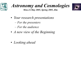 Astronomy and Cosmologies - The Evergreen State College