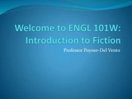 Welcome to ENGL 101W: Introduction to Fiction