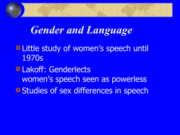 Gender and Language - University of Wisconsin–Eau Claire