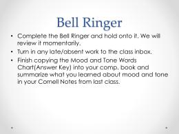 Bell Ringer - Ms. Barker's 6th & 7th Grade ELA