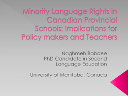 Minority Language Rights in Canadian Provincial Schools