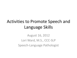 Activities to Promote Speech and Language Skills