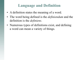 Language and Definition