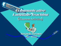 Communicative Language Teaching (Classroom Activities)