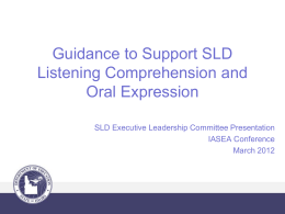 Guidance to Support Language Impairment vs. Oral …