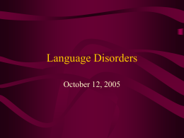 Language Disorders - College of Public Health & Health